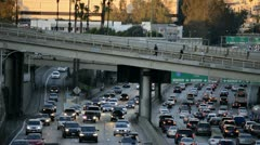 Time Lapse of Rush Hour Traffic in Downtown Los Angeles During Sunset Stock Footage