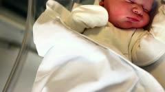 newborn in hospital room 1 - stock footage