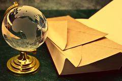 glass globe and the old book - stock photo