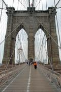 Brooklyn bridge in New York City detailed view Stock Photos