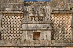 wall symbol of the god of water chak in uxmal, mexico - stock photo
