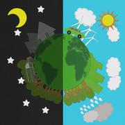 Ecology day and night concept with stitch style on fabric background Stock Illustration