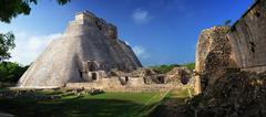 panoramic view of the mayan pyramids in uxmal, yucatan, mexico. - stock photo