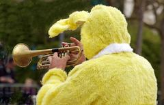 rabbit trumpeter, animation for Easter - stock photo