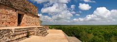 The panoramic view from one of the most beautiful pyramids in the ancient cit Stock Photos