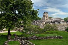 Stock Photo of watch tower in the ancient mayan city of palenque, mexico