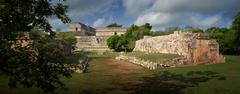 panoramic view of the ruins of the mayan pyramids in uxmal, yucatan, mexico. - stock photo