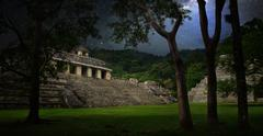 Starry sky over the ruins and pyramids in the ancient city of palenque, mexic Stock Photos