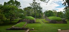 golf ball in the ancient mayan city of palenque in mexico - stock photo