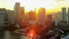Aerial sunset view Bayfront Park, Miami Stock Footage