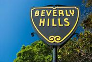 Stock Photo of beverly hills sign in los angeles close-up view
