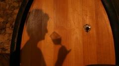 Drinking wine barrel Stock Footage