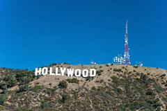 hollywood sign on santa monica mountains in los angeles - stock photo