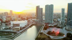 Aerial view American Airlines Arena, Miami Stock Footage