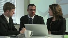 Hispanic Business man explaining business model to employees Stock Footage