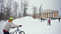Bikers snow jumping Stock Footage