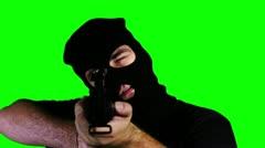 Man with Gun Action Closeup Greenscreen 59 720 - stock footage