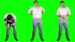 Men Knee Back Stomach Pain Bundle Full Body Greenscreen 720 Stock Footage