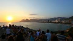 Traditional view of Arpoador Beach Sunset in Rio de Janeiro Stock Footage