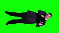 Young Businessman Documents Phone Busy Full Body Greenscreen 72 720 Stock Footage