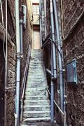 back door alley & steps - stock photo