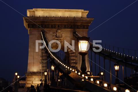 Stock photo of Chain Bridge in Budapest at night