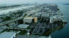 Aerial view Dodge Island Cruise Terminals, Miami Stock Footage