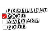 3d excellent good average poor button click here block text Stock Illustration