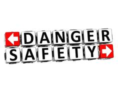 3d danger safety button click here block text Stock Illustration
