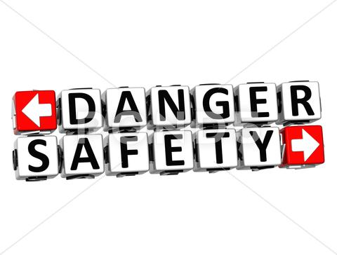 Stock Illustration of 3d danger safety button click here block text
