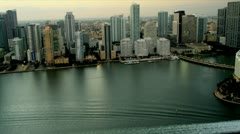 Aerial dusk view hotels and condominiums, Miami Stock Footage
