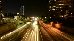 Time Lapse of Rush Hour Traffic in Downtown Los Angeles at Night - stock footage