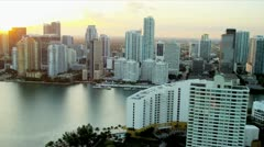 Aerial view across Biscayne Bay towards Miami - stock footage