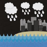 sea scape and city with stitch style on fabric background - stock illustration
