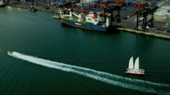 Aerial view Port of Miami container seaport Stock Footage