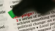 Stock Video Footage of Definition of campaign