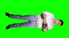 Young Man Tablet PC Body Greenscreen 11 720 Stock Footage