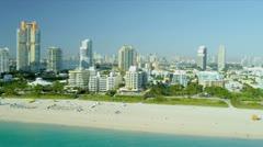 Aerial view South Pointe Park Miami Stock Footage