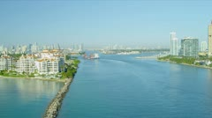 Aerial view Fisher Island exclusive apartments, Miami - stock footage