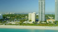 Stock Video Footage of Aerial view Miami Beach  resort hotels