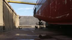 Ship's hull in dry dock Stock Footage