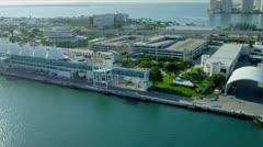 Aerial view Cruise Ship Terminal, Miami Stock Footage