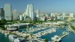 Aerial waterfront view Bayside Marketplace, USA Stock Footage
