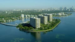 Aerial view Grove Isle luxury Hotel and Spa, Miami, USA Stock Footage