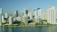 Aerial view luxury hotels and condominiums, Miami Stock Footage