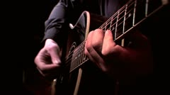 Acoustic Guitar Chords Close Up HD Stock Footage