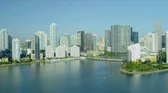 Aerial view hotels Brickel Key, Miami Stock Footage