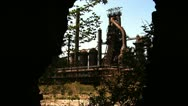 Stock Video Footage of Bethlehem Steel Blast furnaces Looking out of Old Building