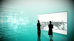 Silhouettes watching global business community clips Stock Footage