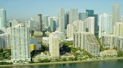 Aerial view luxury  condominiums Brickell Key, Miami - stock footage